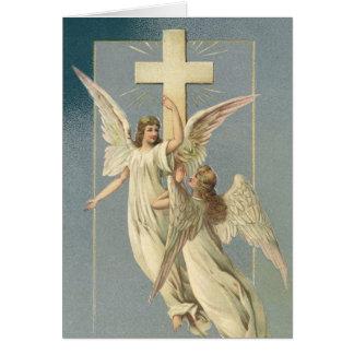 Vintage Pascua, ángeles del Victorian con una cruz Tarjeta De Felicitación