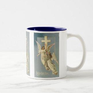Vintage Pascua, ángeles del Victorian con una cruz Taza De Dos Tonos