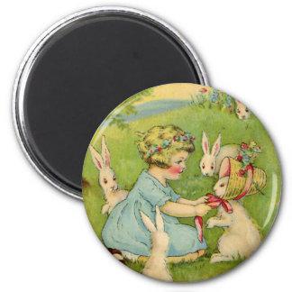 Vintage Pascua, capo del chica en conejo de Imán Redondo 5 Cm