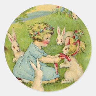 Vintage Pascua, capo del chica en conejo de Pegatina Redonda