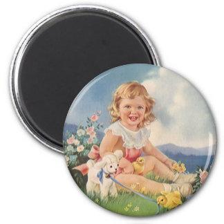 Vintage Pascua, chica con el cordero de los Imán Redondo 5 Cm