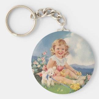 Vintage Pascua, chica con el cordero de los Llavero Redondo Tipo Chapa