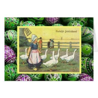 Vintage Pascua, chica holandés con los gansos Tarjeta De Felicitación