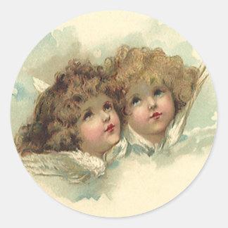 Vintage Pascua, cielo angelical de las nubes de Pegatinas Redondas