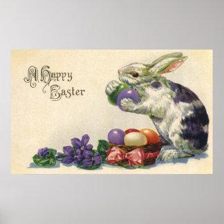 Vintage Pascua, conejito del Victorian con los Póster