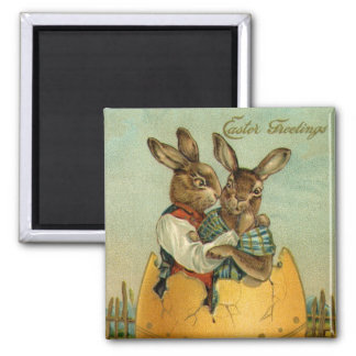 Vintage Pascua, conejitos del Victorian en huevo Imán Cuadrado