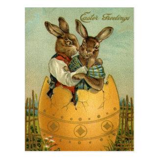 Vintage Pascua, conejitos del Victorian en huevo Postal
