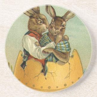 Vintage Pascua, conejitos del Victorian en un Posavasos Cerveza