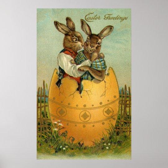 Vintage Pascua, conejitos del Victorian en un Póster