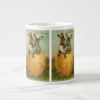 Vintage Pascua, conejitos del Victorian en un Taza Grande