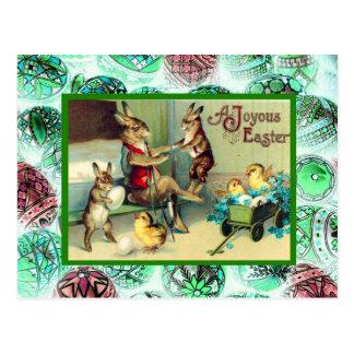 Vintage Pascua, conejos en casa Tarjeta Postal