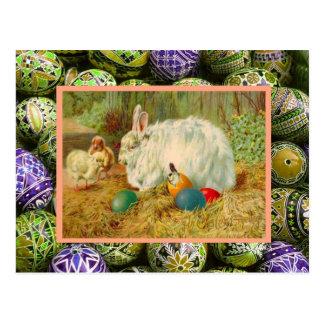 Vintage Pascua, conejos, polluelos y huevos Postales