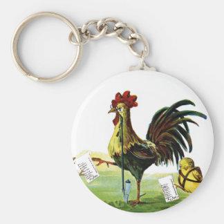 Vintage Pascua de la cachimba del gallo que fuma Llavero Redondo Tipo Pin