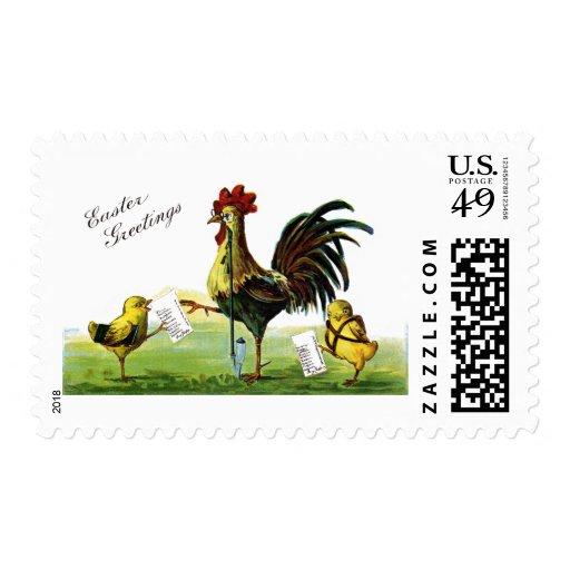 Vintage Pascua de la cachimba del gallo que fuma Sellos