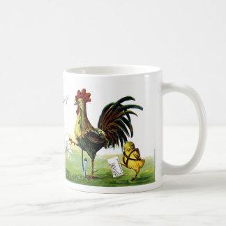 Vintage Pascua de la cachimba del gallo que fuma Tazas