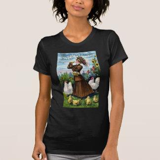 Vintage Pascua de la señora y de los pollos Tshirt