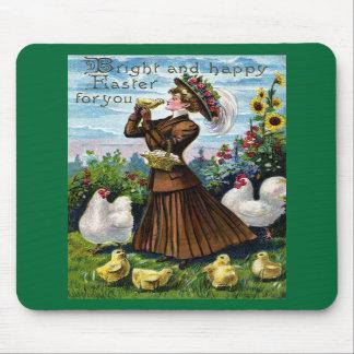 Vintage Pascua de la señora y de los pollos Tapetes De Raton
