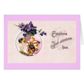 Vintage Pascua de las violetas y de los polluelos Tarjetas