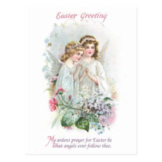 Vintage Pascua de los ángeles y de las flores Tarjeta Postal