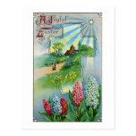 Vintage Pascua de los jacintos, de la cruz y de la Tarjeta Postal