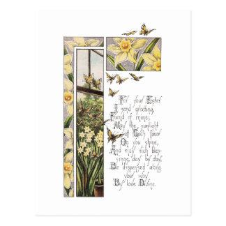 Vintage Pascua de los narcisos y de las mariposas Tarjeta Postal