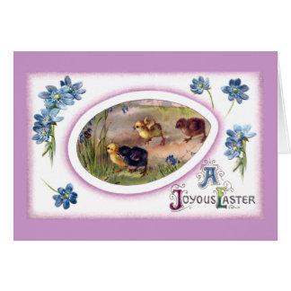 Vintage Pascua de los Windflowers y de los polluel Felicitación