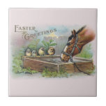 Vintage Pascua del caballo y de los polluelos Azulejo Ceramica