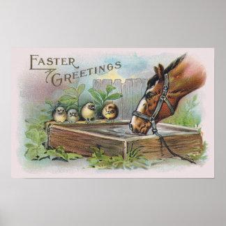 Vintage Pascua del caballo y de los polluelos Póster
