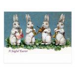 Vintage Pascua del cuarteto del conejo Tarjetas Postales