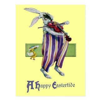 Vintage Pascua del violinista del conejo Postal