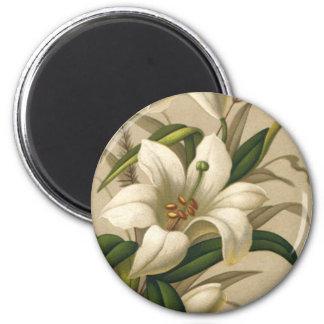 Vintage Pascua, flores del lirio del Victorian en Imán Redondo 5 Cm