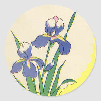 Vintage Pascua, iris púrpuras florales felices de Pegatina Redonda