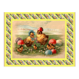 Vintage Pascua, los años 30, gallina y polluelos Tarjeta Postal