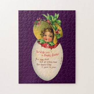 Vintage Pascua, niño del Victorian en un huevo Rompecabezas