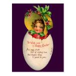 Vintage Pascua, niño del Victorian en un huevo Postal
