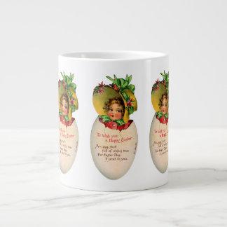 Vintage Pascua, niño del Victorian en un huevo Taza Grande
