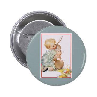 Vintage Pascua, niño lindo del muchacho con el Pin Redondo De 2 Pulgadas