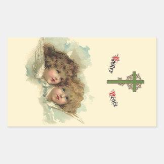 Vintage Pascua, nubes angelicales de los ángeles Pegatina Rectangular