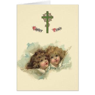 Vintage Pascua, nubes angelicales de los ángeles Tarjeta Pequeña