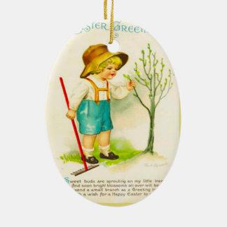 Vintage Pascua, nuevos brotes en el jardín Adorno Ovalado De Cerámica