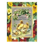 Vintage Pascua, polluelos y flores de la primavera Postales