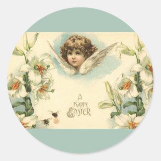 Vintage Pascua, querube del Victorian con las Pegatina Redonda
