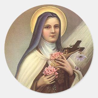 Vintage Pascua religiosa, monja con la cruz Pegatina Redonda