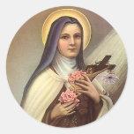 Vintage Pascua religiosa, rosas cruzados de Cristo Pegatina Redonda