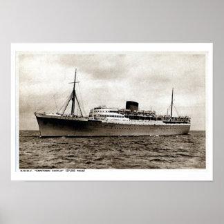 Vintage passenger ship RMMV Capetown Castle Poster