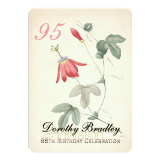 Vintage Passiflora 95th Birthday Party Invitation