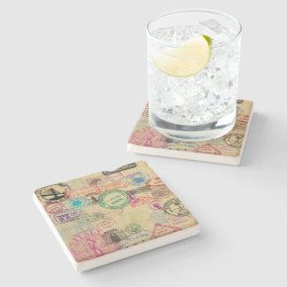 Vintage Passort Stamps Limestone Coaster