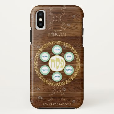 Vintage Passover Seder Kosher Pesach Wood Texture iPhone X Case