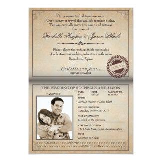 "Vintage Passport Invitation 5"" X 7"" Invitation Card"