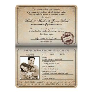 Vintage Passport Invitation 8.75 x 6.5